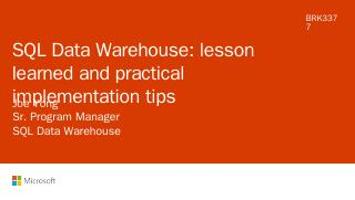 Azure SQL Data Warehouse lessons learned and ...