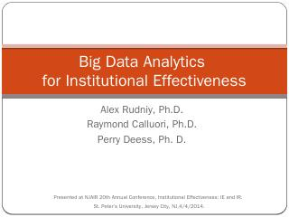 Big Data Analytics Spring 2014 Presentation (...