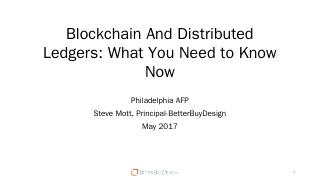Blockchain And Distributed Ledgers - Philly AFP