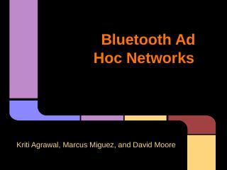 Bluetooth Ad Hoc Networks - UF CISE