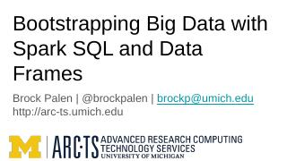 Bootstrapping BigData with Spark SQL and Data...