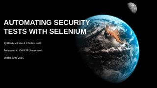 Browser Automation with Selenium - owasp