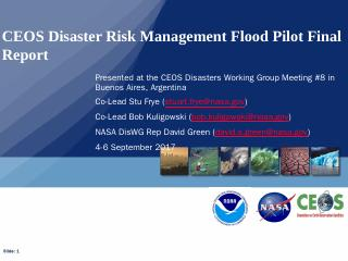 CEOS Disaster Risk Management Flood Pilot Fin...