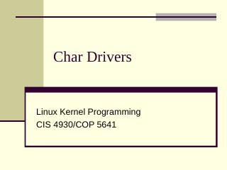 Character Device Drivers