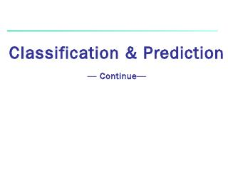 Classification & Prediction - myWeb