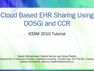 Cloud Based EHR Sharing Using DOSGi and CCR -...