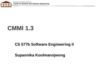 CMMI - Software Engineering I - University of...