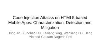 Code Injection Attacks on HTML5-based Mobile ...