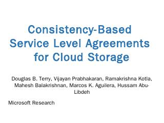 Consistency-based Service Level Agreements