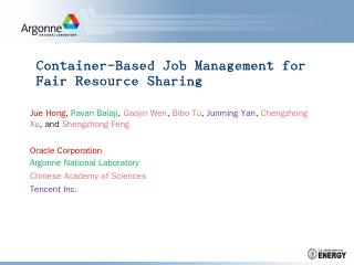 Container-Based Job Management for Fair Resou...