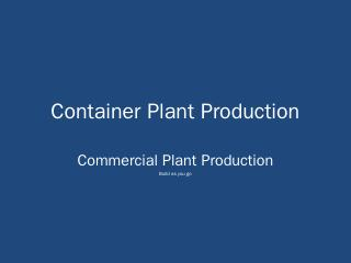 Container Plant Production - Kirkwood