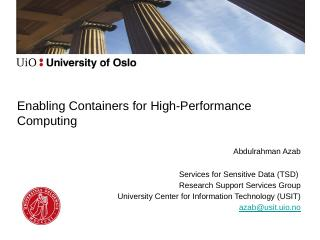 Containers for HPC - UiO