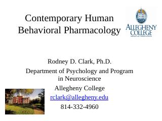 Contemporary Human Behavioral Pharmacology - ...