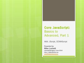 Core JavaScript: Basic to Advanced - Meetup