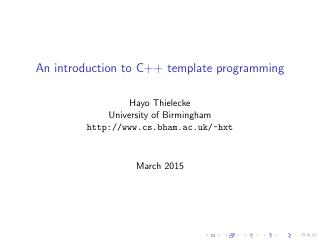 An introduction to C++ template programming
