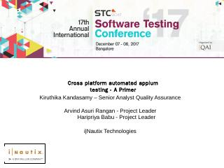 Cross platform automated appium testing - A P...