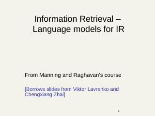 CS276A Text Information Retrieval, Mining, an...