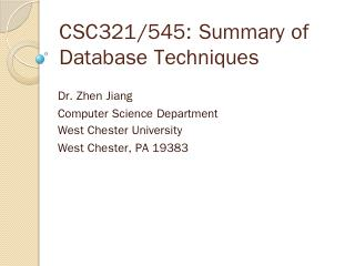 CST221: Database Systems (II) - West Chester ...