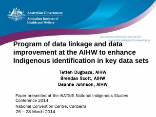 Data sets - Australian Institute of Aborigina...