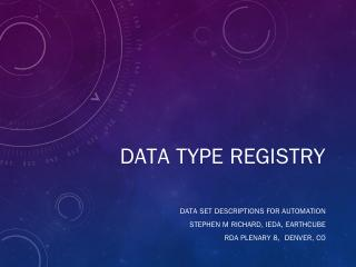 Data Type Registry - Research Data Alliance