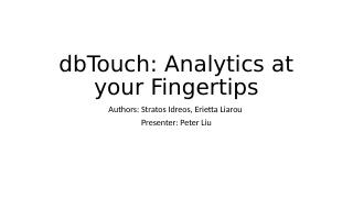 dbtouch:Analytics at your Fingertips
