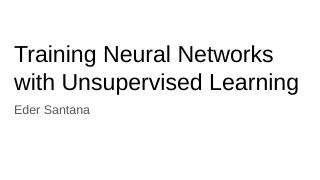 Deep Unsupervised Learning