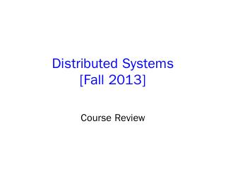 Distributed Systems - Columbia CS