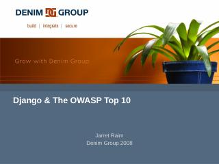 Django & The OWASP Top 10