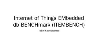 Embedded Database Benchmark