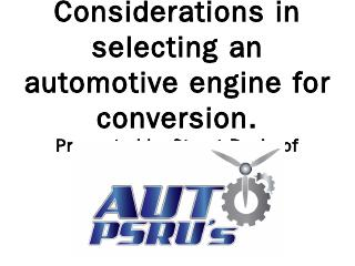 Engine Selection Criteria - Auto PSRU's