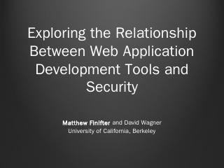 Exploring the Relationship Between Web ... - ...