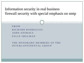 Firewall Security with Special Emphasis on SMTP