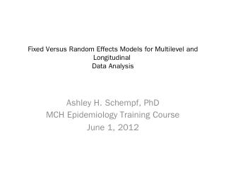 Fixed Effects Versus Random Effects Models fo...