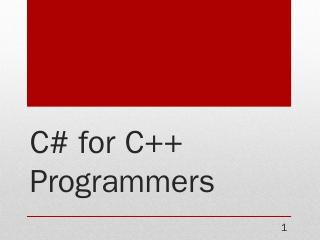 C# for C++ Programmers - C-Sharp Technologies