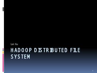 Hadoop Distributed File System - UNL CSE
