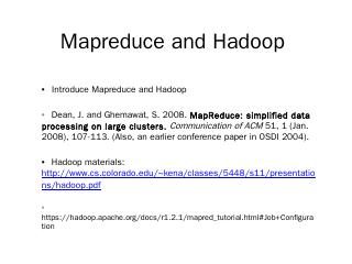 Hadoop Mapreduce - Computer Science, FSU