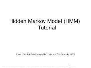 Hidden Markov Model Tutorial - Fei Hu