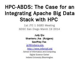 HPC-ABDS: The Case for an Integrating Apache ...