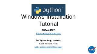 Installing Python - nasa arset