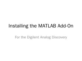Installing the MATLAB Add-In