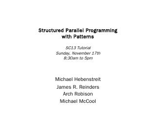 Intel - Structured Parallel Programming