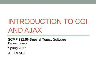 Introduction to CGI and ajax - Kenyon CS