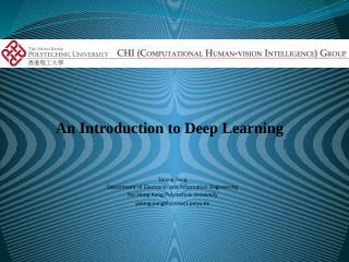 Introduction to Deep Learning - SSTRC