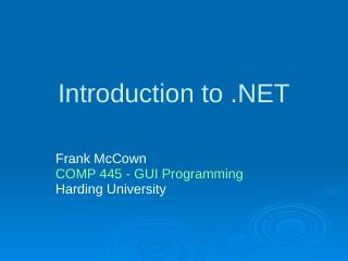 Introduction to .NET - Harding University