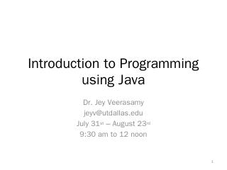 Introduction to Programming using Java - UT D...