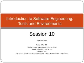 Introduction to Software Engineering: Tools a...