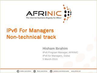 IPv6 For Managers Non-technical track - MENOG