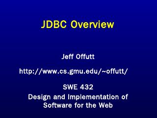 JDBC - GMU CS Department