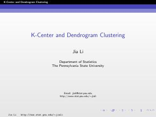 k-center and dendrogram clustering