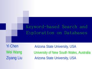 Keyword-based Search and Exploration on Datab...